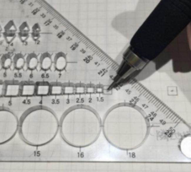 一級建築士試験製図の柱を各テンプレートの画像