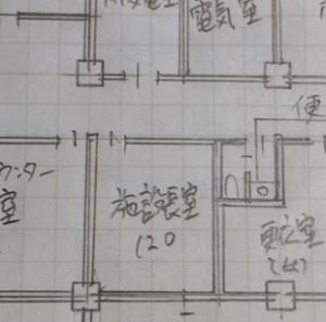 施術室図面の手書き製図画像